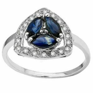 Genuine Sapphire and Diamond 925 Silver Ring